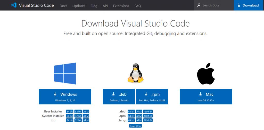 Download Visual Studio Code for Ubunutu and other OS